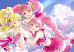 3girls :d aida_mana bike_shorts blonde_hair blue_sky choker closed_mouth clouds cure_heart cure_melody cure_star day dokidoki!_precure earrings frilled_skirt frills hairband heart heart_earrings hoshi_(xingspresent) hoshina_hikaru houjou_hibiki jewelry long_hair looking_at_viewer magical_girl midriff multiple_girls open_mouth pink_choker pink_eyes pink_footwear pink_hair pink_hairband pink_skirt ponytail precure rainbow skirt sky smile star_twinkle_precure suite_precure twintails violet_eyes