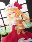 1girl absurdres asymmetrical_hair bangs blonde_hair bow closed_mouth collarbone cowboy_shot dress dutch_angle flandre_scarlet frilled_dress frills hair_between_eyes hat hat_bow highres holding holding_stuffed_animal long_hair looking_at_viewer marker_(medium) off_shoulder red_bow red_dress red_eyes side_ponytail sleeveless sleeveless_dress smile solo standing stuffed_animal stuffed_toy teddy_bear touhou traditional_media white_headwear wings yellow_neckwear yuiki_(cube)