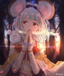 1girl =_= absurdres animal animal_ears bangs black_bow blush bow breath cheese closed_eyes commentary_request eating english_commentary eyebrows_visible_through_hair food granblue_fantasy grey_hair hair_bow hair_ornament hairclip hands_together hands_up highres long_sleeves looking_at_viewer mouse mouse_ears outdoors own_hands_together petchduck1 red_bow red_eyes shirt sleeves_past_wrists solo sunset tree twitter_username vikala_(granblue_fantasy) white_shirt