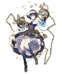 1girl alice_(sinoalice) bare_shoulders belt blue_dress book chain christmas dark_blue_hair dress expressionless eyebrows_visible_through_hair frills full_body fur_trim hat high_heels ji_no official_art platform_footwear santa_hat short_hair sinoalice solo tattoo transparent_background yellow_eyes