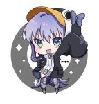 1girl :d animal_hood arm_up armored_boots artist_name bangs black_jacket blue_eyes blush boots bow chibi commentary_request eyebrows_visible_through_hair fate/grand_order fate_(series) full_body grey_bow hair_between_eyes hood hood_up hooded_jacket jacket knee_boots long_hair long_sleeves looking_at_viewer meltryllis meltryllis_(swimsuit_lancer)_(fate) open_mouth outstretched_arm penguin_hood popo_(popopuri) purple_hair sleeves_past_fingers sleeves_past_wrists smile solo sparkle standing upper_teeth very_long_hair