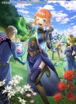 1boy 2girls annette_fantine_dominic blue_eyes blue_sky clouds company_name copyright_name day dress fire_emblem fire_emblem:_three_houses fire_emblem_cipher flower from_behind gloves misa_tsutsui multiple_girls official_art one_eye_closed open_mouth orange_hair outdoors short_hair sky thigh-highs twintails