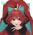 1girl aqua_bow black_shirt blush bow cape disembodied_head double_v eyebrows_visible_through_hair hair_bow hand_on_own_head high_collar highres holding_head long_sleeves looking_at_viewer nose_blush prat_rat red_cape red_eyes red_nails red_skirt redhead sekibanki shirt short_hair signature skirt solo tongue tongue_out touhou upper_body v