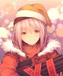 1girl assault_rifle bangs brown_eyes christmas closed_mouth fur_trim g11_(girls_frontline) girls_frontline gun h&k_g11 hair_between_eyes hat highres holding holding_gun holding_weapon long_sleeves looking_at_viewer pink_hair red_ribbon red_theme ribbon rifle santa_hat smile solo suginakara_(user_ehfp8355 upper_body weapon