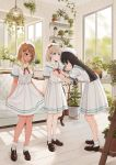 3girls black_hair blonde_hair dress highres idolmaster idolmaster_shiny_colors izumi_mei long_hair long_legs mayuzumi_fuyuko multiple_girls o0u0m serizawa_asahi short_hair white_dress
