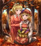 2girls :d absurdres aki_minoriko aki_shizuha apple autumn autumn_leaves bangs barefoot basket black_choker black_footwear black_ribbon black_skirt blonde_hair blue_sky blush breast_pocket breasts choker commentary_request day dress eyebrows_visible_through_hair food food_themed_hair_ornament fruit grape_hair_ornament hair_ornament hairband hat highres holding holding_basket kneeling leaf_hair_ornament light_rays long_sleeves mob_cap multiple_girls open_mouth outdoors pocket red_dress red_eyes red_hairband red_headwear ribbon ribbon_choker shirt shoes short_hair siblings sisters skirt sky small_breasts smile sweet_potato touhou waffle_nouka white_shirt wide_sleeves yellow_eyes