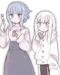 2girls alternate_costume blue_hair braid brown_eyes closed_mouth crown_braid doughnut eating fire_emblem fire_emblem:_three_houses food highres holding holding_food long_hair long_sleeves lysithea_von_ordelia marianne_von_edmund multiple_girls parted_lips pink_eyes remoooon simple_background white_background white_hair