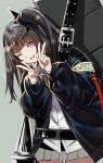 1girl ;d architect_(girls_frontline) armband bangs black_hair black_jacket blush breasts collared_shirt cowboy_shot double_v eyebrows_visible_through_hair girls_frontline grey_skirt head_tilt highres jacket leaning_forward long_hair looking_at_viewer one_eye_closed one_side_up open_clothes open_jacket open_mouth pink_eyes pleated_skirt purple_neckwear red_nails ripod sangvis_ferri school_uniform shirt skirt smile v weapon_case