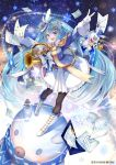 >_< 1girl :d black_legwear blue_eyes blue_hair blue_headwear boots bow dated epaulettes french_horn gloves hair_ornament hand_up hat hat_feather hatsune_miku highres horn instrument long_hair looking_at_viewer mini_hat mini_top_hat musical_note musical_note_print official_art open_mouth pantyhose pisuke rabbit_yukine sheet_music smile snowflake_print snowflakes snowman tilted_headwear top_hat twintails v very_long_hair vocaloid white_bow white_footwear white_gloves yuki_miku yuki_miku_(2020)