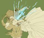 1boy 1girl blonde_hair closed_eyes dress earrings green_background jewelry link master_sword parody pointy_ears ponytail princess_zelda sekai_wo_kakumei_suru_chikara_wo shoujo_kakumei_utena shuri_(84k) sword the_legend_of_zelda the_legend_of_zelda:_breath_of_the_wild twitter_username weapon