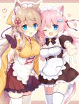 2girls absurdres animal_ear_fluff animal_ears apron back_bow bell bell_collar black_gloves black_neckwear blonde_hair blue_eyes blush bow bowtie breasts cat_ears cat_tail collar commentary_request eyebrows_visible_through_hair fang fish_hair_ornament fox_ears garter_belt gloves hair_between_eyes hair_ornament hair_ribbon heart highres japanese_clothes kimono long_hair looking_at_viewer maid maid_apron maid_headdress medium_breasts multiple_girls name_tag natsuki_marina one_eye_closed open_mouth original outstretched_arm pink_hair ribbon skin_fang smile tail thigh-highs wa_maid zettai_ryouiki