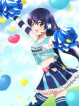 1girl arm_up arms_up bangs bare_shoulders blue_hair blue_legwear blush cheering cheerleader commentary_request cowboy_shot crop_top elbow_gloves from_side gloves hair_between_eyes headset highres long_hair looking_at_viewer love_live! love_live!_school_idol_project midriff misoradeko navel polka_dot_skirt pom_poms skirt smile solo sonoda_umi striped striped_gloves takaramonozu thigh-highs yellow_eyes