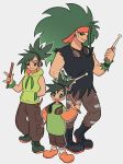 3girls absurdres age_progression black_eyes black_shirt boots bright_pupils brown_pants combat_boots drumsticks english_commentary gen_8_pokemon green_hair green_hoodie grey_background grookey headband headphones headphones_around_neck high_ponytail highres hood hoodie long_hair multiple_girls muscle muscular_female nymria pants personification pokemon ponytail rillaboom shirt simple_background sleeveless sleeveless_hoodie thwackey tomboy torn_clothes torn_sleeves