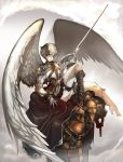 angel_wings archangel blonde_hair boots gloves green_eyes jeffr short_hair sword thigh-highs thighhighs weapon wings