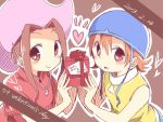 2girls box brown_background brown_eyes brown_hair card dated digimon digimon_adventure english_text gift gift_box hat heart heart-shaped_pupils helmet holding holding_gift looking_at_viewer multiple_girls oosuzu_aoi ribbon simple_background symbol-shaped_pupils tachikawa_mimi takenouchi_sora valentine