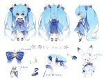 1other :3 ahoge bloomers blue_bow blue_dress blue_eyes blue_gloves blue_hair blush bow bowtie cape character_sheet chibi constellation_print dress fingerless_gloves frilled_dress frilled_legwear frills gloves hair_bow hair_ornament hairclip hatsune_miku highres long_hair multiple_views nishina_hima official_art rabbit rabbit_yukine star star_hair_ornament star_ornament star_print striped striped_bow thigh_strap treble_clef twintails underwear very_long_hair vocaloid wand wide_sleeves yuki_miku yuki_miku_(2017)