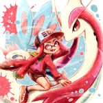 1girl bangs baseball_cap bike_shorts black_shorts blunt_bangs commentary company_connection dated domino_mask fangs hand_on_headwear harutarou_(orion_3boshi) hat ink_tank_(splatoon) inkling long_hair long_sleeves looking_at_viewer mask milotic on_animal open_mouth paint_splatter pink_eyes pointy_ears pokemon pokemon_(creature) red_footwear red_headwear red_shirt redhead riding shirt shoes shorts single_vertical_stripe sitting smile sneakers solo splatoon_(series) splatoon_1 tentacle_hair