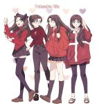 4girls black_hair fate/stay_night fate_(series) highres horse_tail long_hair multiple_girls red_sweater redmin_0415 smile sweater tail toosaka_rin twintails