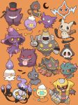 >_< >o< ._. 2027_(submarine2027) :3 ^_^ alternate_color bat blue_eyes cane chandelure chibi closed_eyes commentary_request crescent drifloon dusknoir duskull fangs fire flying_sweatdrops gen_1_pokemon gen_2_pokemon gen_3_pokemon gen_4_pokemon gen_5_pokemon gen_6_pokemon gen_7_pokemon gengar giratina grin hat haunter heart highres horn litwick mega_banette mimikyu misdreavus mismagius necktie no_humans notice_lines one_eye_closed open_mouth orange_background pokemon pokemon_(creature) red_eyes red_sclera rotom shaded_face shiny_pokemon shuppet smile teeth tongue tongue_out top_hat v yamask yellow_eyes yellow_sclera zipper