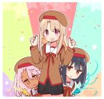 3girls :d beret black_hair black_skirt blush bow brown_eyes brown_headwear brown_shirt closed_mouth commentary_request confetti cowboy_shot dark_skin fate/kaleid_liner_prisma_illya fate_(series) hands_up hat homurahara_academy_uniform illyasviel_von_einzbern light_brown_hair long_hair long_sleeves miyu_edelfelt multiple_girls open_mouth parted_lips party_popper pink_hair pleated_skirt prisma_illya red_bow red_eyes school_uniform shirt skirt smile star streamers yoru_nai