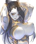 1girl absurdres armpits arms_behind_head arms_up biceps black_hair breasts covered_nipples gougasha_akira highres large_breasts looking_at_viewer metallic_skin muscle muscular_female parted_lips seth_(street_fighter) simple_background smile solo street_fighter street_fighter_v yellow_eyes