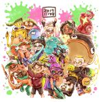 5boys 5girls absurdres aqua_hair aqua_tongue arms_up bangs baseball_cap black_hair blonde_hair blunt_bangs bobblehat boots bukichi_(splatoon) cat closed_eyes commentary crown dated denchinamazu domino_mask ebii_(splatoon) english_commentary fang fangs goggles gradient_hair green_footwear green_hair green_headwear harutarou_(orion_3boshi) hat headphones highres hime_(splatoon) holding holding_weapon iida_(splatoon) inkling jacket jajji-kun_(splatoon) jellyfish_(splatoon) jet_squelcher_(splatoon) kojajji-kun_(splatoon) lifebuoy long_hair long_sleeves looking_at_viewer mask medium_hair miura_(splatoon) multicolored_hair multiple_boys multiple_girls octarian open_mouth orange_hair orange_overalls overalls paint_splatter pink_hair pointy_ears purple_hair rubber_boots salmon_run salmonid scrunchie shirt short_hair smile snorkel spiky_(splatoon) splatoon_(series) splatoon_2 splattershot_pro_(splatoon) squidbeak_splatoon standing suction_cups topknot vest weapon white_hair white_shirt yellow_eyes yellow_jacket yellow_tongue yellow_vest zipper_pull_tab