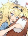 1girl blonde_hair blue_eyes blue_shirt bokukawauso collared_shirt doll doll_hug gambier_bay_(kantai_collection) hairband kantai_collection looking_at_viewer mascot otter shirt stuffed_otter twintails yunoji_yusuke