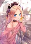 1girl abigail_williams_(fate/grand_order) aran_sweater bangs beret black_bow black_collar black_headwear blonde_hair blue_eyes blurry blurry_background blush bottle bow closed_mouth collar collarbone day depth_of_field eyebrows_visible_through_hair fate/grand_order fate_(series) forehead hair_bow hand_up hat holding holding_bottle jin_young-in long_hair long_sleeves off-shoulder_sweater off_shoulder orange_bow outdoors parted_bangs pink_sweater polka_dot polka_dot_bow railroad_tracks sleeves_past_wrists smile solo sweater train_station train_station_platform twitter_username very_long_hair