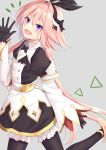 1boy absurdres astolfo_(saber)_(fate) bangs black_bow black_gloves black_ribbon blush bow bowtie commentary_request fate/grand_order fate_(series) gloves grey_background hair_bow hair_intakes hair_ribbon highres ka03 long_hair long_sleeves looking_at_viewer multicolored_hair otoko_no_ko pink_hair ribbon simple_background smile solo streaked_hair twintails violet_eyes white_hair