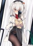 1girl :q alternate_costume bangs beret black_legwear black_nails black_panties blouse blue_eyes blush breasts casual cellphone grey_skirt hat highres holding holding_phone jacket kagura_miyabi kantai_collection kashima_(kantai_collection) large_breasts lifted_by_self long_hair long_sleeves looking_at_viewer open_clothes open_jacket panties pantyhose phone red_scarf scarf sidelocks silver_hair skirt skirt_lift smartphone smile solo standing tongue tongue_out tsurime twintails underwear wavy_hair white_jacket yellow_blouse