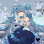 1girl absurdly_long_hair absurdres bangs blue_eyes blue_hair blue_skirt closed_mouth detached_sleeves diadem earrings eyebrows_visible_through_hair floating_hair frilled_skirt frills grey_background hair_between_eyes hatsune_miku heart heart_hands highres jewelry layered_skirt long_hair long_skirt long_sleeves looking_at_viewer maya_n3 rabbit_yukine silver_hair skirt smile snowflakes solo standing twintails very_long_hair vocaloid white_sleeves yuki_miku