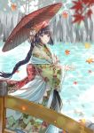 1girl autumn_leaves braid bridge brown_eyes day japanese_clothes kimono kusunokinawate leaf long_hair maple_leaf oriental_umbrella original outdoors solo standing umbrella water wide_sleeves