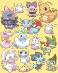 >_< 2027_(submarine2027) =3 ^_^ altaria alternate_color axew black_eyes chibi closed_eyes commentary_request dragon_wings dragonair dragonite dratini fangs flygon flying_sweatdrops full_body gen_1_pokemon gen_3_pokemon gen_5_pokemon gen_6_pokemon goodra goomy green_eyes hydreigon looking_to_the_side looking_up mouth_drool no_humans noibat one_eye_closed open_mouth pokemon pokemon_(creature) salamence shiny_pokemon sitting sleeping sliggoo sweatdrop tongue tongue_out u_u wings yellow_background yellow_sclera zzz