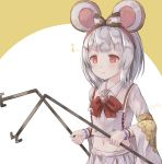1girl :3 animal_ears bangs blush bow brown_background closed_mouth collared_shirt commentary dowsing_rod eighth_note english_commentary eyebrows_visible_through_hair granblue_fantasy hair_bow heart highres hikari_niji long_sleeves midriff mouse_ears musical_note navel pleated_skirt red_bow red_eyes shirt silver_hair skirt solo striped striped_bow touhou two-tone_background v-shaped_eyebrows white_background white_shirt white_skirt wide_sleeves