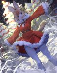 1girl alternate_costume animal_ears bow christmas christmas_lights christmas_ornaments christmas_tree coat commentary_request dhole_(kemono_friends) dog_ears dog_girl dog_tail eyebrows_visible_through_hair fangs fur_trim gloves green_bow hair_bow hair_ornament highres kemono_friends kemono_friends_3 koruse light_brown_eyes light_brown_hair long_sleeves multicolored_bow multicolored_hair neck_ribbon night open_mouth pantyhose red_bow red_coat ribbon santa_costume short_hair snow solo star star_hair_ornament tail white_gloves white_hair white_legwear