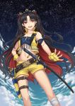 1girl :d armband bangs black_bow black_hair bow clouds collarbone diadem earrings fate/grand_order fate_(series) fingerless_gloves gloves hair_bow hand_on_hip highres ishtar_(fate)_(all) ishtar_(fate/grand_order) jewelry katana long_hair looking_at_viewer midriff multicolored_hair navel open_mouth outdoors outstretched_hand red_eyes redhead sheath sheathed short_shorts shorts sky sleeveless smile solo standing star_(sky) starry_sky stomach sword thigh_strap twintails two-tone_hair very_long_hair weapon yellow_gloves yellow_shorts yuki7128