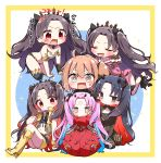 6+girls :d absurdres ahoge bandaid bangs bare_shoulders black_bodysuit black_gloves black_hair black_legwear black_ribbon blue_hair blush bodysuit boots brown_eyes brown_hair chain cloak commentary_request earrings eyebrows_visible_through_hair facial_mark fate/grand_order fate_(series) fingerless_gloves flower forehead_mark fujimaru_ritsuka_(female) fur-trimmed_cloak fur-trimmed_hood fur_trim gloves grey_vest hair_between_eyes hair_ribbon hand_on_another's_head harem highres hood hood_down hooded_jacket hoop_earrings horns ishtar_(fate/grand_order) ishtar_(swimsuit_rider)_(fate) jacket jako_(jakoo21) jewelry knee_boots knees_up long_hair long_sleeves multicolored_hair multiple_girls navel one_side_up open_clothes open_mouth open_vest parted_bangs pink_hair pink_jacket red_cloak red_eyes red_flower red_rose redhead ribbon rose seiza short_shorts shorts single_glove single_thighhigh sitting smile space_ishtar_(fate) sparkle star star-shaped_pupils sweat symbol-shaped_pupils thigh-highs tiara translation_request two-tone_hair two_side_up v-shaped_eyebrows very_long_hair vest wavy_mouth yellow_footwear yellow_gloves yellow_shorts