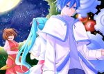 1boy 2girls adam_moonlit akame_(akame0516) aqua_hair back-to-back blonde_hair blue_eyes blue_hair brown_hair closed_mouth crying crying_with_eyes_open dress dutch_angle embryo eve_moonlit evillious_nendaiki forest full_moon gears hair_ribbon hatsune_miku highres holding_baby kaito labcoat leaf long_coat long_hair looking_down majo_salmhofer_no_toubou_(vocaloid) meiko meta_salmhofer moon moonlit_bear_(vocaloid) multiple_girls nature open_mouth red_dress ribbon scientist see-through_sleeves serious shaded_face short_hair sky song_name star_(sky) starry_sky tears tree twintails vocaloid white_dress