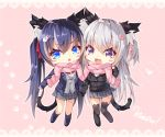 2girls :3 :d animal_band_legwear animal_ear_fluff animal_ears bangs black_footwear black_jacket black_legwear blazer blue_eyes blue_hair blue_jacket blue_legwear blush blush_stickers cardigan cat_band_legwear cat_ears cat_girl cat_hair_ornament cat_tail chibi commentary_request drawstring dress_shirt eyebrows_visible_through_hair fang fringe_trim grey_cardigan grey_skirt hair_between_eyes hair_ornament hair_ribbon heart heart_hair_ornament highres jacket kneehighs loafers long_hair long_sleeves multiple_girls ooji_cha open_blazer open_clothes open_jacket open_mouth original oziko_(ooji_cha) pink_background pink_ribbon pink_scarf pleated_skirt polka_dot polka_dot_background red_ribbon ribbon scarf shared_scarf shirt shoes silver_hair skirt smile spoken_heart tail thigh-highs twintails two_side_up very_long_hair violet_eyes white_shirt