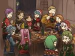 5girls 6+boys adult alternate_costume animal_print blonde_hair blue_hair braid brother_and_sister brown_hair byleth_(fire_emblem) byleth_(fire_emblem)_(male) christmas claude_von_riegan closed_eyes closed_mouth crown_braid cup cyril_(fire_emblem) dark_skin dark_skinned_male dragon_print eating fire_emblem fire_emblem:_fuukasetsugetsu fire_emblem:_three_houses fire_emblem_heroes flayn_(fire_emblem) food from_behind from_side glass glasses green_hair hair_ornament hat hilda_valentine_goneril holding holding_cup horse_print ignatz_victor intelligent_systems leonie_pinelli loli long_hair long_sleeves lorenz_hellman_gloucester lysithea_von_ordelia male_my_unit_(fire_emblem:_fuukasetsugetsu) marianne_von_edmund mug multiple_boys multiple_girls my_unit_(fire_emblem:_fuukasetsugetsu) nintendo open_mouth orange_hair peeking_out pink_hair pirihiba pom_pom_(clothes) purple_hair raphael_kirsten red_headwear reindeer_print santa_hat seteth_(fire_emblem) short_hair siblings snowman_print star_print super_smash_bros. sweater table teenage twintails white_hair