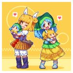 2girls apron black_footwear blonde_hair bloomers blue_footwear blue_hair boots cross-laced_footwear cross-laced_sandals doll doll_hug double_bun haniyasushin_keiki head_scarf heart joutouguu_mayumi kumamoto_(bbtonhk2) looking_at_viewer lowres multiple_girls one_eye_closed open_mouth pixel_art puffy_short_sleeves puffy_sleeves red_eyes sandals short_hair short_sleeves skirt smile speech_bubble spoken_heart standing touhou underwear yellow_background yellow_eyes yellow_skirt