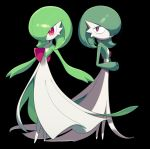 2girls bangs black_background closed_mouth commentary_request full_body gardevoir gen_3_pokemon green_hair green_skin hair_over_one_eye hands_together hands_up happy interlocked_fingers looking_to_the_side lotosu multiple_girls no_humans pokemon pokemon_(creature) red_eyes sad shiny shiny_hair short_hair simple_background smile standing two-tone_skin white_skin