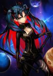 1girl bangs belt black_belt black_bodysuit black_hair bodysuit breasts cleavage_cutout commentary earrings english_commentary fate/grand_order fate_(series) grey_eyes hankuri hoop_earrings horns ishtar_(fate/grand_order) jewelry katana long_hair looking_at_viewer multicolored_hair parted_bangs planet redhead small_breasts solo space space_ishtar_(fate) sword thighs two-tone_hair two_side_up weapon