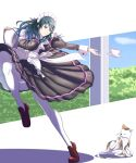 1girl absurdres animal blue_eyes blue_hair byleth_(fire_emblem) byleth_(fire_emblem)_(female) byleth_eisner_(female) cat closed_mouth cup cute fire_emblem fire_emblem:_fuukasetsugetsu fire_emblem:_three_houses fire_emblem_16 gzo1206 highres holding holding_tray human intelligent_systems long_sleeves maid maid_headdress mammal nintendo shoes solo teacup tray white_legwear