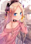 1girl abigail_williams_(fate/grand_order) aran_sweater bangs beret black_bow black_collar black_headwear blonde_hair blue_eyes blurry blurry_background blush bottle bow closed_mouth collar collarbone commentary_request day depth_of_field eyebrows_visible_through_hair fate/grand_order fate_(series) forehead hair_bow hand_up hat holding holding_bottle jin_young-in long_hair long_sleeves off-shoulder_sweater off_shoulder orange_bow outdoors parted_bangs pink_sweater polka_dot polka_dot_bow railroad_tracks sleeves_past_wrists smile solo sweater train_station train_station_platform very_long_hair