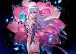 1girl armor artist_name ass back bangs bikini_armor black_background blue_fire breasts circlet closed_mouth detached_sleeves dress earrings fate/grand_order fate_(series) fire flower hair_ribbon highres jewelry kama_(fate/grand_order) large_breasts long_hair looking_at_viewer lotus pauldrons petals pink_ribbon purple_dress purple_legwear purple_sleeves red_eyes redrop revealing_clothes ribbon signature silver_hair solo thigh-highs thigh_strap thighlet