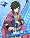 armor black_hair blue_eyes cape character_name idolmaster idolmaster_side-m kagura_rei leon_magnus leon_magnus_(cosplay) short_hair tales_of_(series) tales_of_destiny warrior