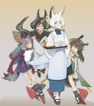 4girls animal_ears apron azur_lane black_hair brown_hair closed_mouth commentary_request food fox_ears fox_tail geta glasses gradient gradient_background grey_hair hakama hatakaze_(azur_lane) high-waist_skirt highres japanese_clothes kaga_(azur_lane) kamikaze_(azur_lane) kimono kyuubi licking_lips long_hair long_sleeves looking_at_another matsukaze_(azur_lane) multiple_girls multiple_tails onigiri orange_eyes pleated_skirt puffy_sleeves round_eyewear rudder_footwear sakuramon short_hair skirt smile soopon tabi tail tied_hair tongue tongue_out tray white_apron white_hair wide_sleeves yellow_eyes