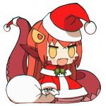 1girl :d blush_stickers chibi christmas commentary english_commentary fangs hair_ornament hairclip hat highres lamia loen-lapae long_hair long_sleeves meme miia_(monster_musume) monster_girl monster_musume_no_iru_nichijou open_mouth padoru pointy_ears red_headwear redhead sack santa_costume santa_hat simple_background skin_fangs smile solo standing tail white_background yellow_eyes