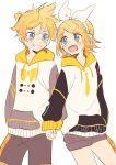 1boy 1girl bangs black_shorts blonde_hair blue_eyes bow bowtie commentary cowboy_shot fang grin hair_bow hair_ornament hairclip headphones highres holding_hands hood hoodie kagamine_len kagamine_rin keyboard_print light_blush looking_at_another m0ti necktie open_mouth short_hair short_ponytail short_shorts shorts smile spiky_hair swept_bangs treble_clef vocaloid white_bow